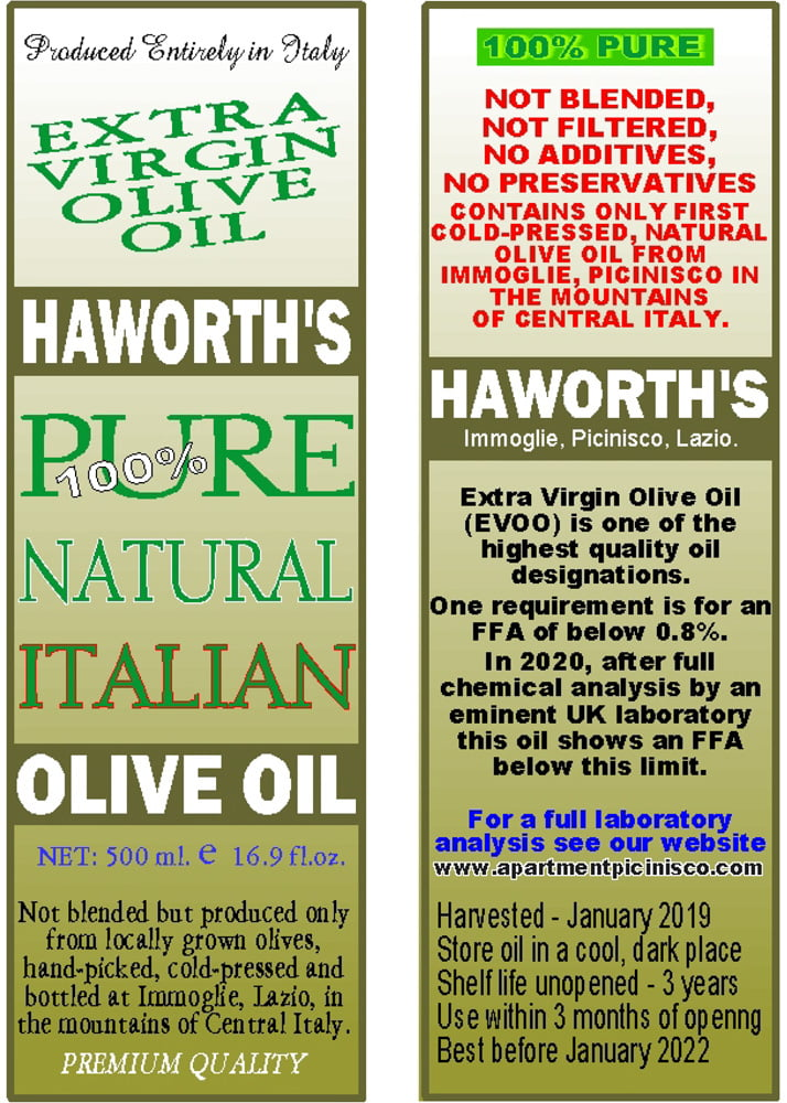 Haworth's Extra Virgin Olive Oil – bottle labels for 2015 production